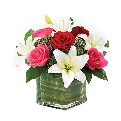Lovely lily & roses romance cube flower arrangements from Ingallina's online gift shop